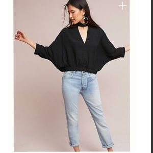 Anthropologie Surplice high Neck Cut Out Blouse